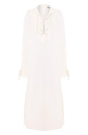 Женское платье из смеси вискозы и хлопка ANN DEMEULEMEESTER бежевого цвета, арт. 2001-2216-P-156-005   Фото 1
