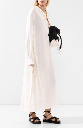 Женское платье из смеси вискозы и хлопка ANN DEMEULEMEESTER бежевого цвета, арт. 2001-2216-P-156-005   Фото 2