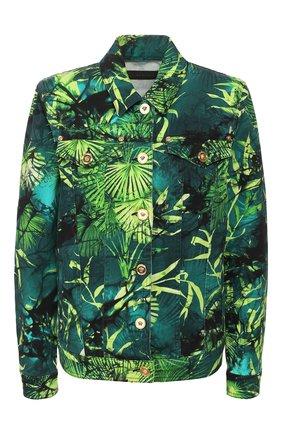 Женская джинсовая куртка VERSACE зеленого цвета, арт. A86573/A234707 | Фото 1