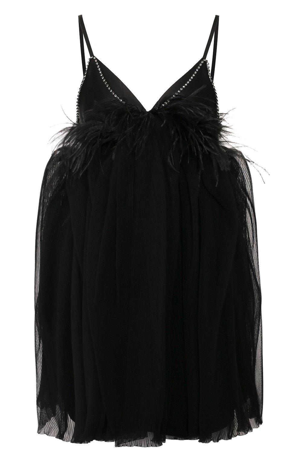 Женское платье с отделкой перьями ACT N1 черного цвета, арт. SSD2002   Фото 1 (Случай: Вечерний; Длина Ж (юбки, платья, шорты): Мини; Рукава: Короткие, Без рукавов; Материал внешний: Синтетический материал; Женское Кросс-КТ: Платье-одежда)