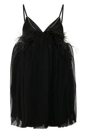 Женское платье с отделкой перьями ACT N1 черного цвета, арт. SSD2002 | Фото 1