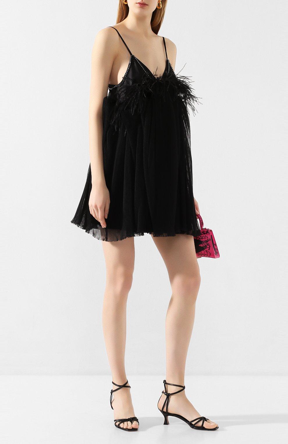 Женское платье с отделкой перьями ACT N1 черного цвета, арт. SSD2002   Фото 2 (Случай: Вечерний; Длина Ж (юбки, платья, шорты): Мини; Рукава: Короткие, Без рукавов; Материал внешний: Синтетический материал; Женское Кросс-КТ: Платье-одежда)