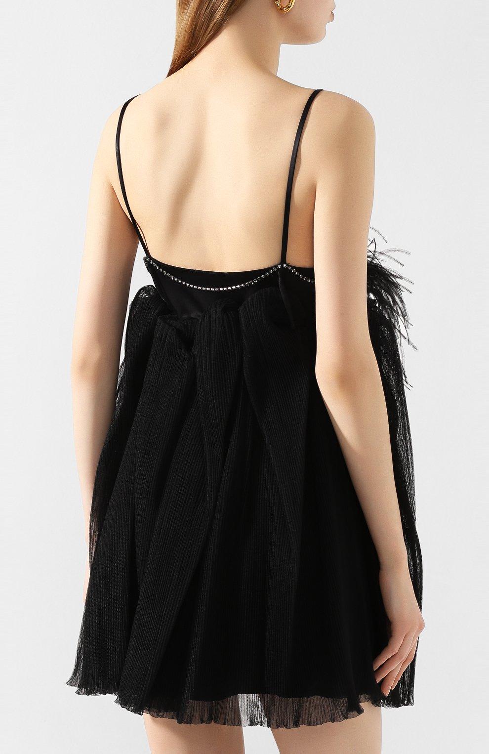 Женское платье с отделкой перьями ACT N1 черного цвета, арт. SSD2002   Фото 4 (Случай: Вечерний; Длина Ж (юбки, платья, шорты): Мини; Рукава: Короткие, Без рукавов; Материал внешний: Синтетический материал; Женское Кросс-КТ: Платье-одежда)