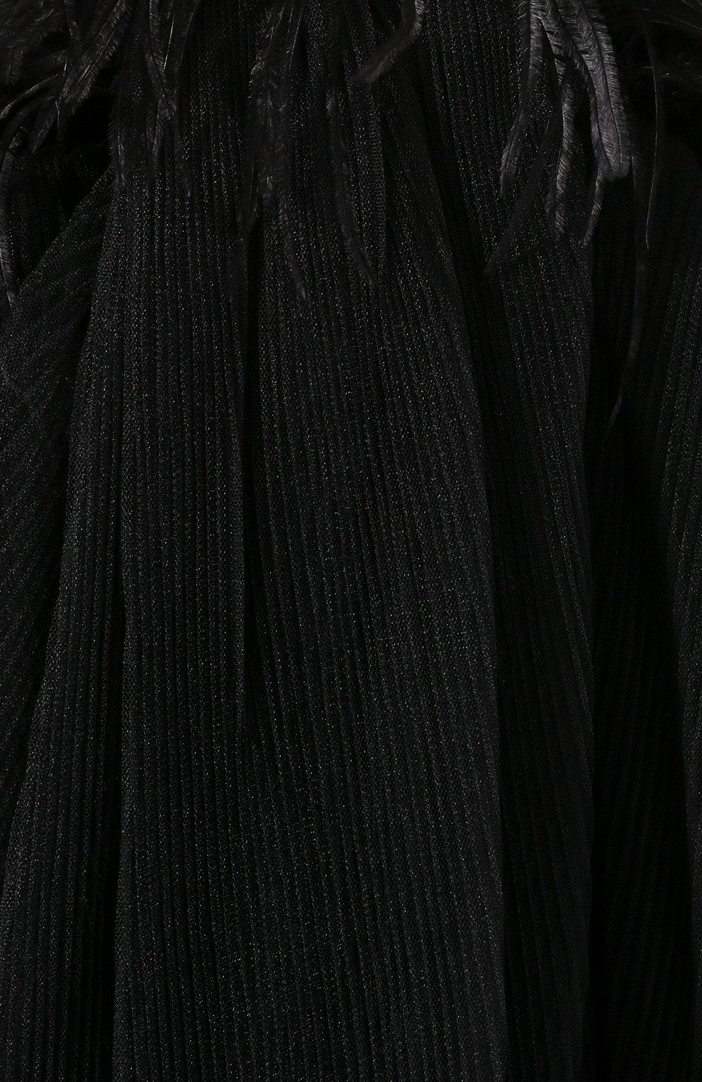 Женское платье с отделкой перьями ACT N1 черного цвета, арт. SSD2002   Фото 5 (Случай: Вечерний; Длина Ж (юбки, платья, шорты): Мини; Рукава: Короткие, Без рукавов; Материал внешний: Синтетический материал; Женское Кросс-КТ: Платье-одежда)