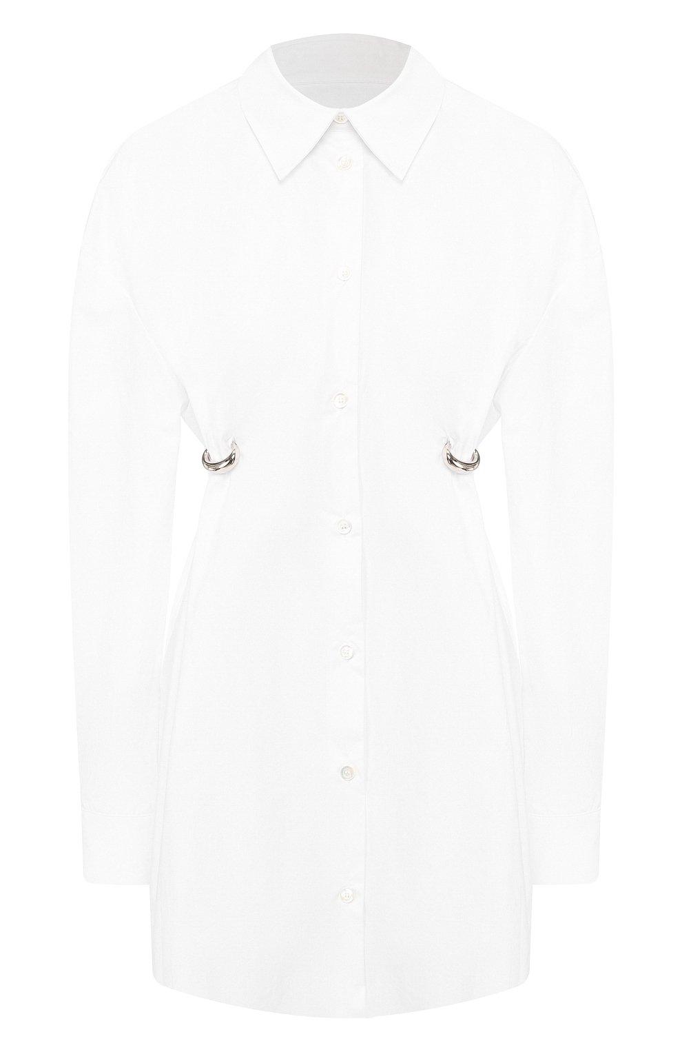 Женская хлопковая рубашка ACT N1 белого цвета, арт. SST2001   Фото 1 (Рукава: Длинные; Принт: Без принта; Женское Кросс-КТ: Рубашка-одежда; Длина (для топов): Удлиненные; Материал внешний: Хлопок)