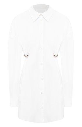 Женская хлопковая рубашка ACT N1 белого цвета, арт. SST2001   Фото 1 (Рукава: Длинные; Материал внешний: Хлопок; Принт: Без принта; Женское Кросс-КТ: Рубашка-одежда; Длина (для топов): Удлиненные)