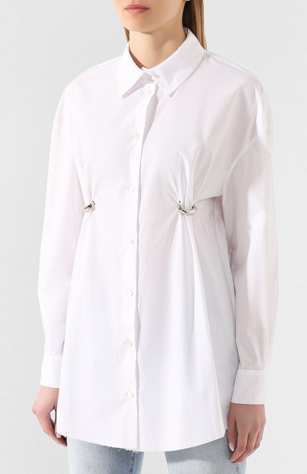 Женская хлопковая рубашка ACT N1 белого цвета, арт. SST2001   Фото 3 (Рукава: Длинные; Принт: Без принта; Женское Кросс-КТ: Рубашка-одежда; Длина (для топов): Удлиненные; Материал внешний: Хлопок)