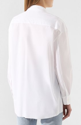 Женская хлопковая рубашка ACT N1 белого цвета, арт. SST2001   Фото 4 (Рукава: Длинные; Принт: Без принта; Женское Кросс-КТ: Рубашка-одежда; Длина (для топов): Удлиненные; Материал внешний: Хлопок)