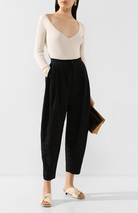 Женские брюки из смеси льна и хлопка UMA WANG черного цвета, арт. P0 W UW3015 | Фото 2
