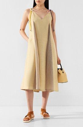 Женское льняное платье AKIRA NAKA бежевого цвета, арт. AS2025-BE | Фото 2