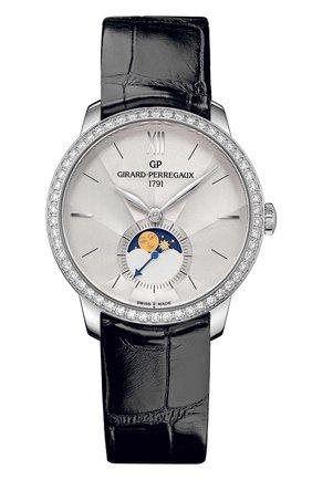 Женские часы steel moon phase silver diamonds GIRARD-PERREGAUX серебряного цвета, арт. 49524D11A171-CK6A   Фото 1