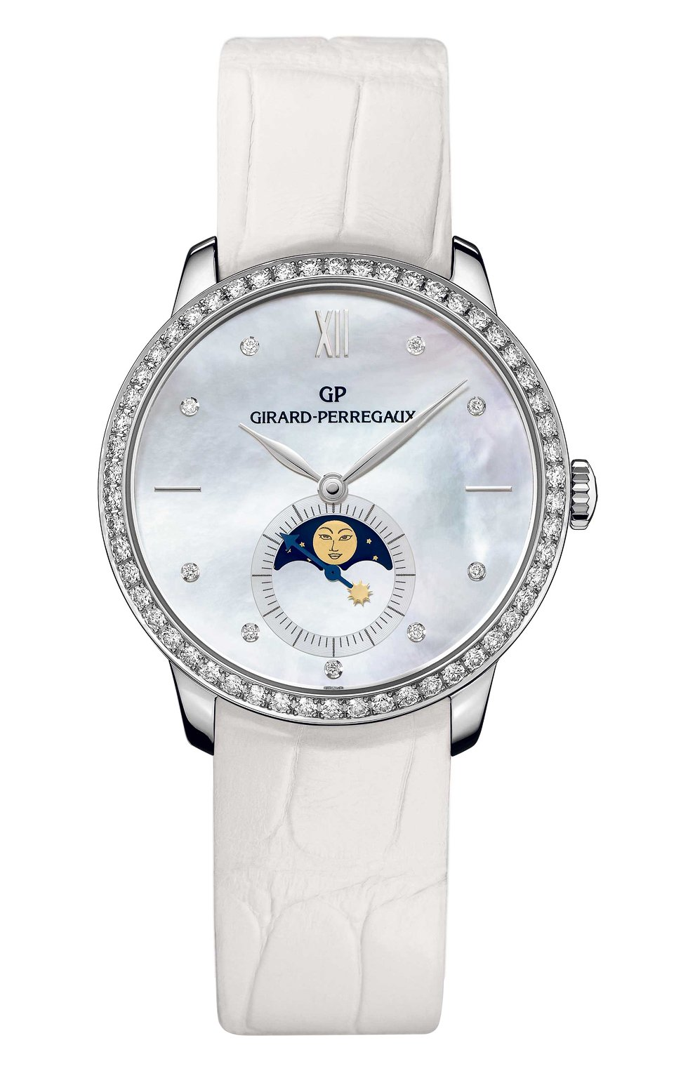 Женские часы white gold moon phase pearl GIRARD-PERREGAUX бесцветного цвета, арт. 49524D53A752-CK7A | Фото 1 (Механизм: Автомат; Цвет циферблата: Перламутровый; Материал корпуса: Белое золото)