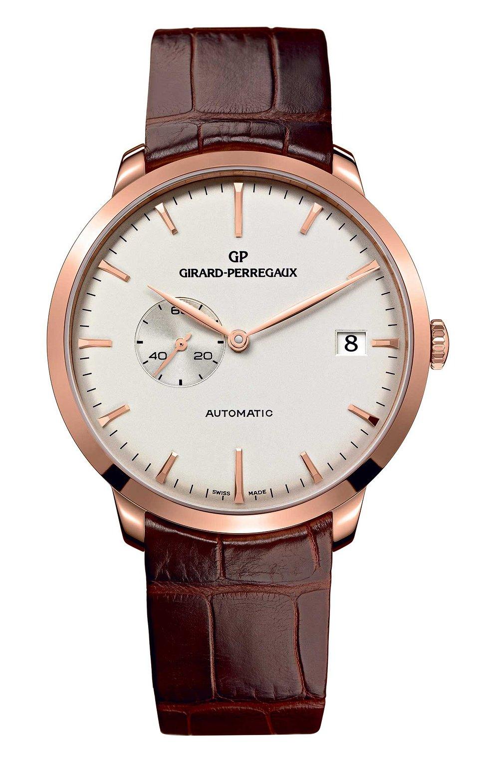 Мужские часы rose gold date white GIRARD-PERREGAUX бесцветного цвета, арт. 49543-52-131-BKBA   Фото 1 (Механизм: Автомат; Материал корпуса: Розовое золото; Цвет циферблата: Белый)