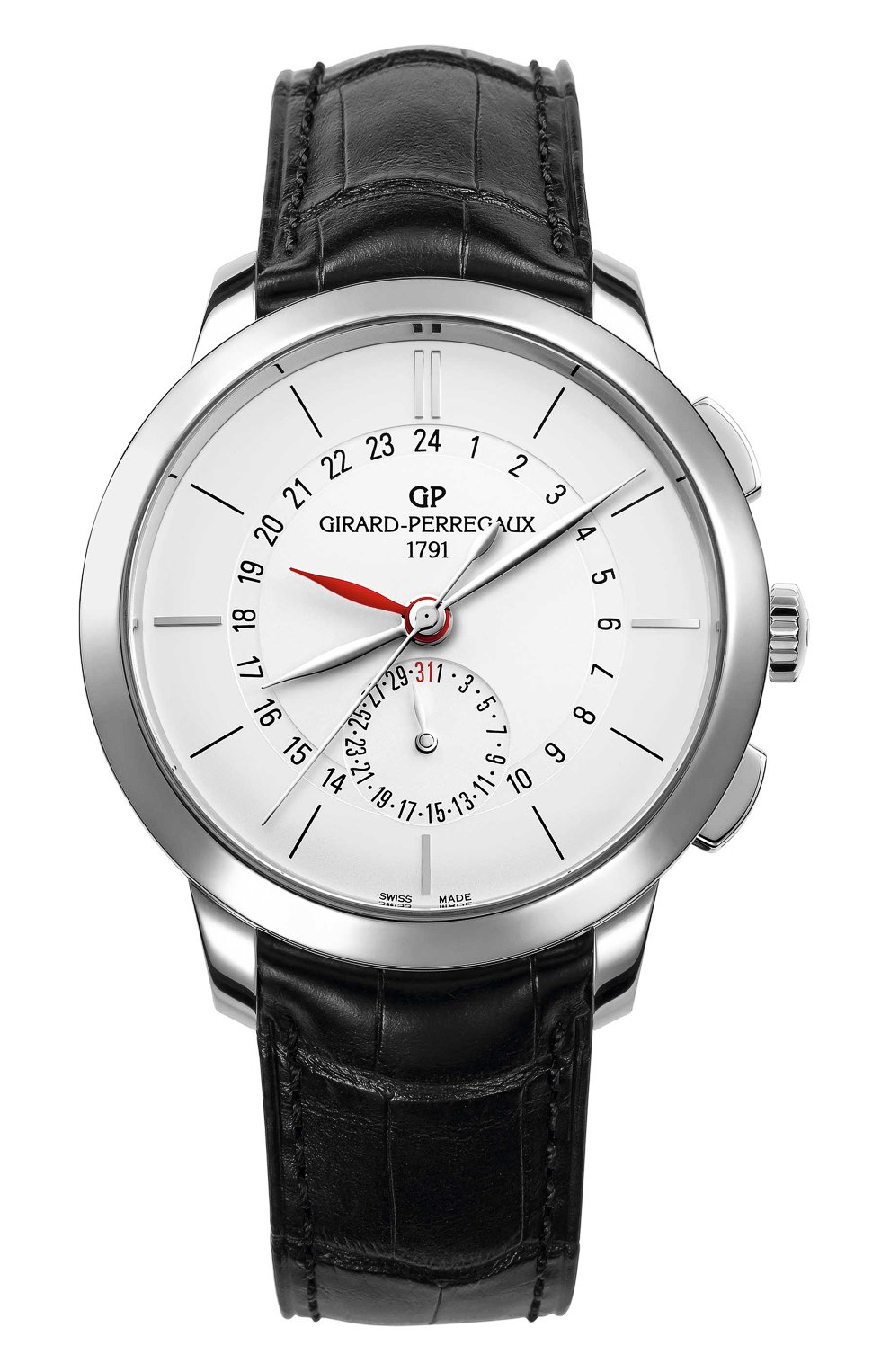 Мужские часы dual time steel white GIRARD-PERREGAUX белого цвета, арт. 49544-11-132-BB60 | Фото 1