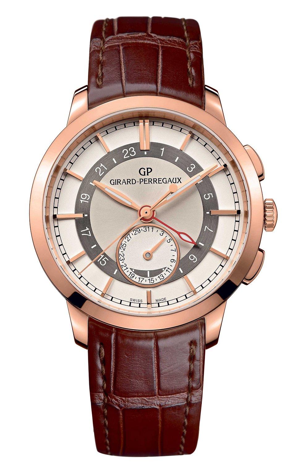 Мужские часы dual time rose gold cream GIRARD-PERREGAUX серебряного цвета, арт. 49544-52-131-BBB0 | Фото 1
