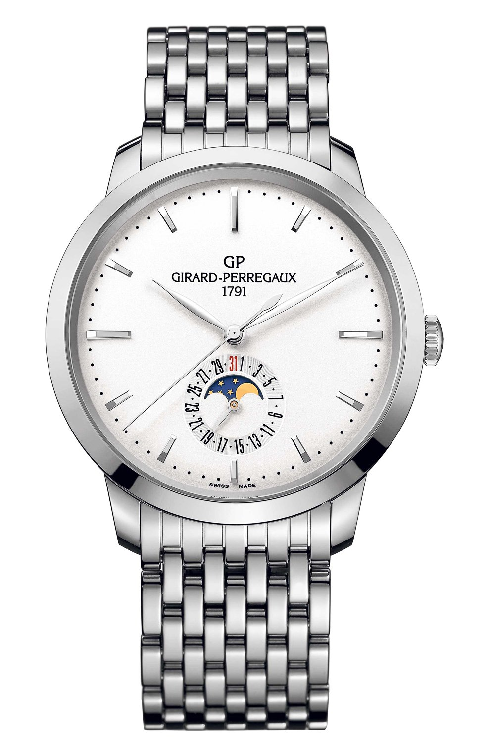 Мужские часы steel moon phase white GIRARD-PERREGAUX бесцветного цвета, арт. 49545-11-131-BB60   Фото 1 (Механизм: Автомат; Материал корпуса: Сталь; Цвет циферблата: Белый)