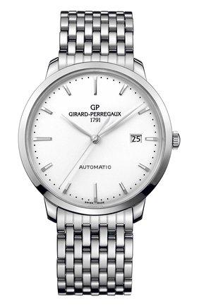 Мужские часы steel date white GIRARD-PERREGAUX серебряного цвета, арт. 49555-11-131-11A | Фото 1