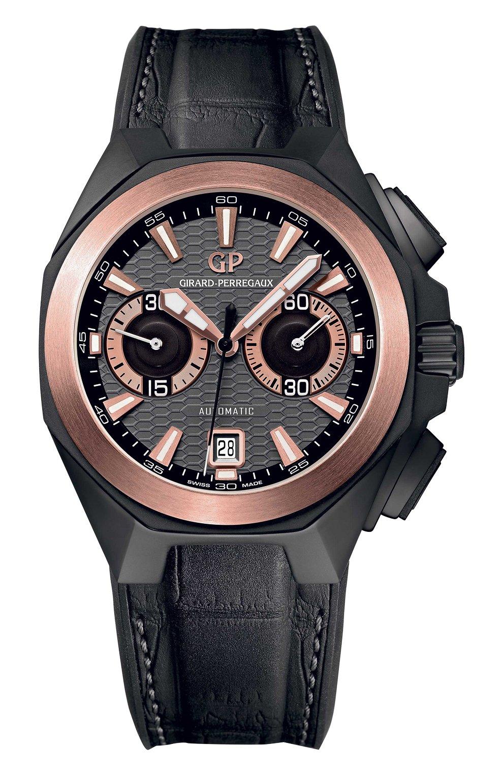 Мужские часы chrono hawk hollywood GIRARD-PERREGAUX бесцветного цвета, арт. 49970-34-232-BB6A | Фото 1 (Материал корпуса: Другое; Механизм: Автомат; Цвет циферблата: Другое)