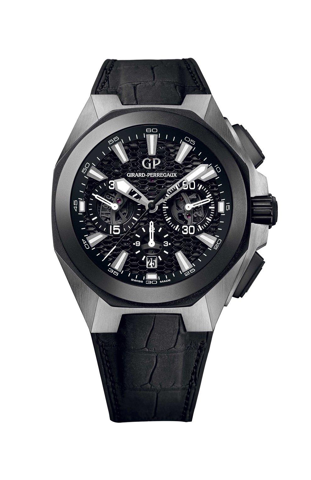 Мужские часы titanium ceramic black chrono GIRARD-PERREGAUX бесцветного цвета, арт. 49971-37-631-BB6A   Фото 1 (Материал корпуса: Другое; Механизм: Автомат; Цвет циферблата: Чёрный)