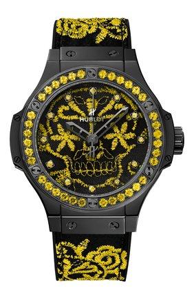 Женские часы big bang broderie sugar skull fluo sunpower HUBLOT черного цвета, арт. 343.CY.6590.NR.1211 | Фото 1