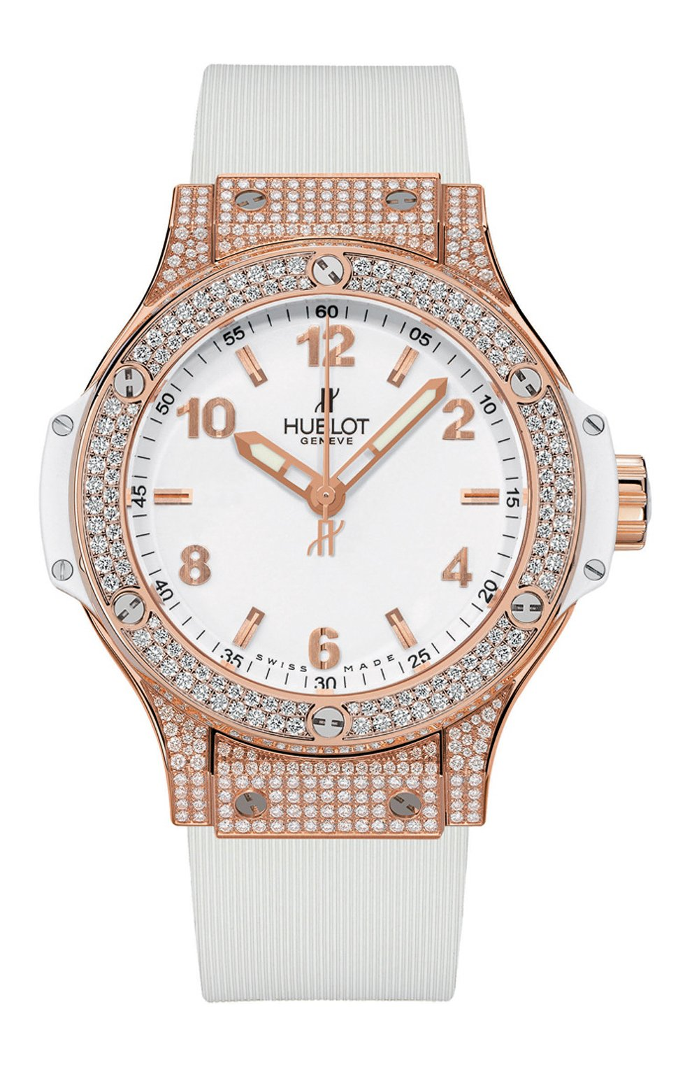Женские часы big bang gold white pave HUBLOT белого цвета, арт. 361.PE.2010.RW.1704 | Фото 1