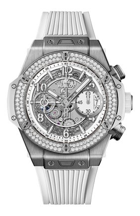 Женские часы big bang unico titanium white diamonds HUBLOT белого цвета, арт. 441.NE.2010.RW.1104 | Фото 1