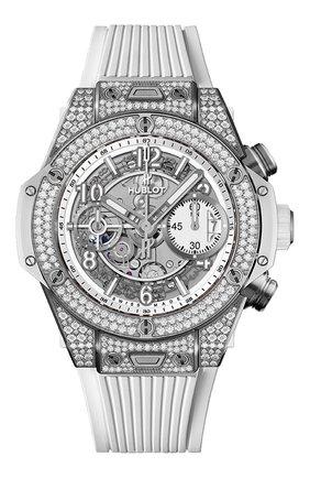 Женские часы big bang unico titanium white pavé HUBLOT белого цвета, арт. 441.NE.2010.RW.1704 | Фото 1
