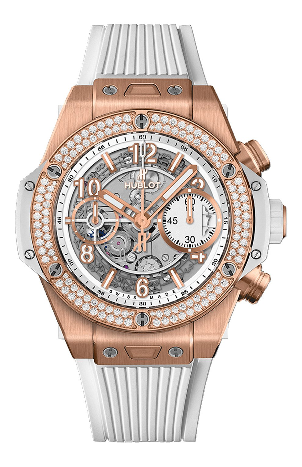 Женские часы big bang unico king gold white diamonds HUBLOT белого цвета, арт. 441.OE.2010.RW.1104   Фото 1
