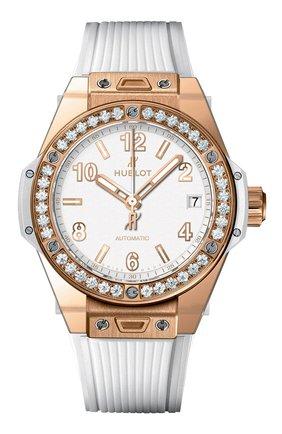 Женские часы big bang one click gold white diamonds HUBLOT белого цвета, арт. 465.OE.2080.RW.1204 | Фото 1
