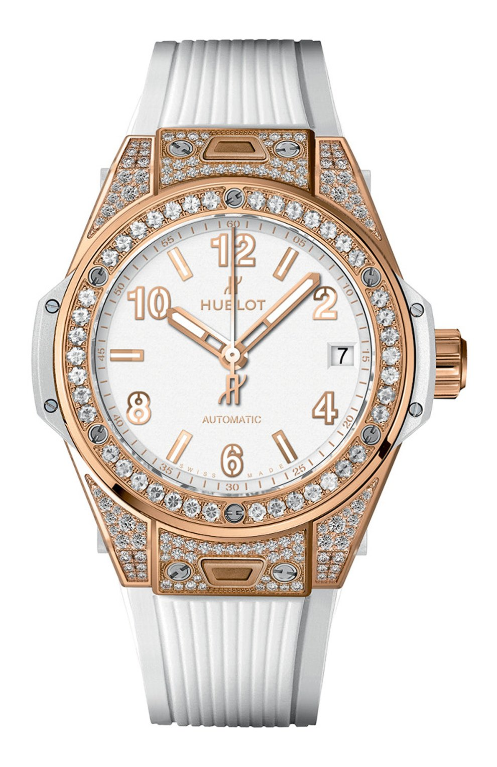 Женские часы big bang one click king gold white pave HUBLOT белого цвета, арт. 465.OE.2080.RW.1604   Фото 1