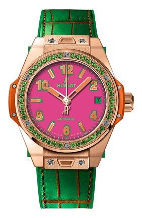 Женские часы big bang one click pop art king gold apple HUBLOT розового цвета, арт. 465.OG.7398.LR.1222.POP16 | Фото 1