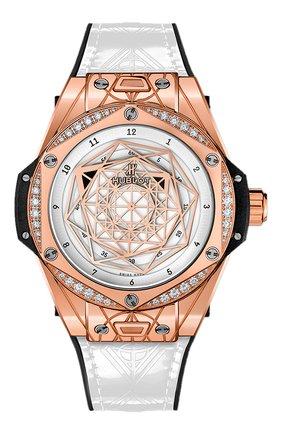 Женские часы big bang sang bleu king gold white diamonds HUBLOT белого цвета, арт. 465.OS.2028.VR.1204.MXM19   Фото 1