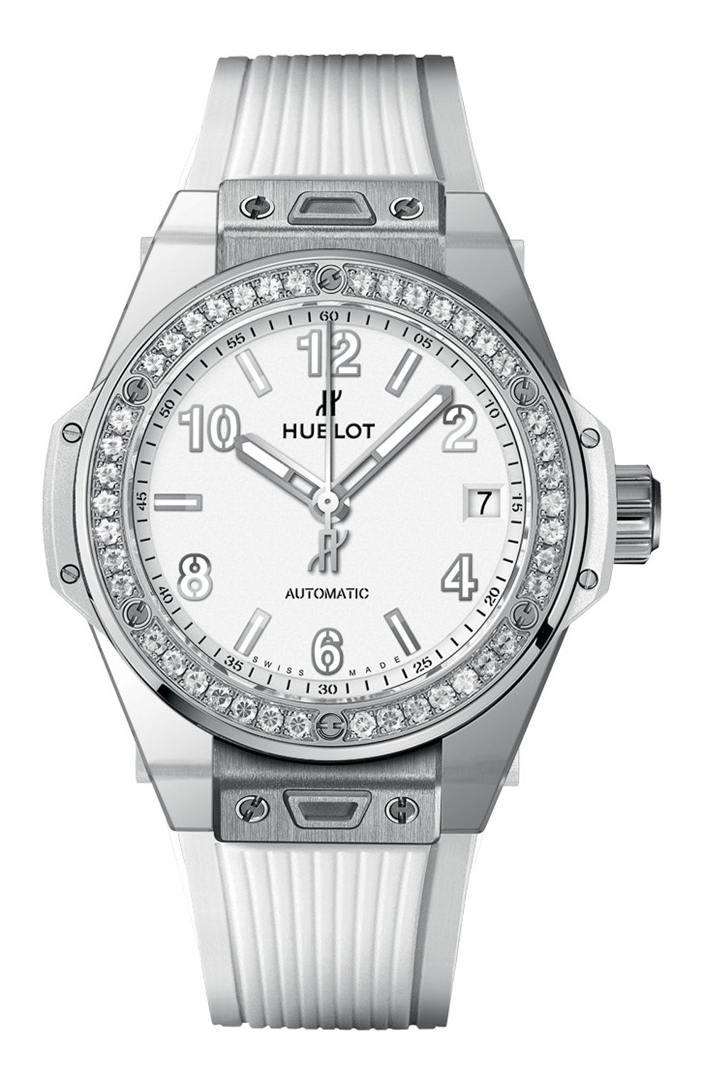 Женские часы big bang one click steel white diamonds HUBLOT белого цвета, арт. 465.SE.2010.RW.1204 | Фото 1