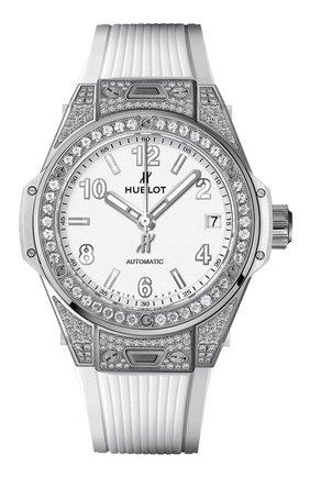 Женские часы big bang one click steel white pave HUBLOT белого цвета, арт. 465.SE.2010.RW.1604 | Фото 1