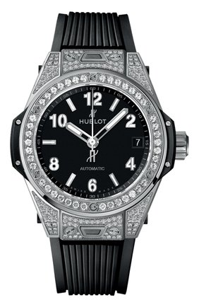 Женские часы big bang one click steel pave HUBLOT черного цвета, арт. 465.SX.1170.RX.1604 | Фото 1