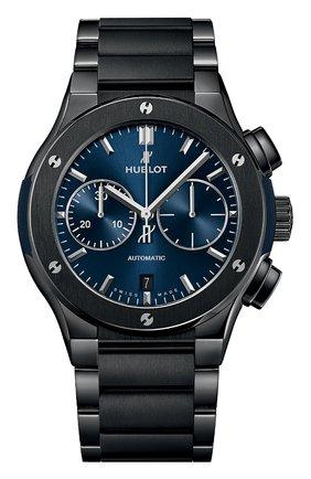 Мужские часы classic fusion chronograph ceramic blue bracelet HUBLOT синего цвета, арт. 520.CM.7170.CM | Фото 1
