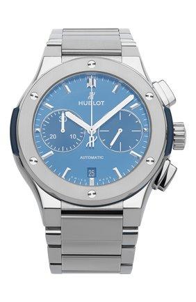 Мужские часы classic fusion chronograph titanium bracelet HUBLOT синего цвета, арт. 520.NX.7170.NX | Фото 1