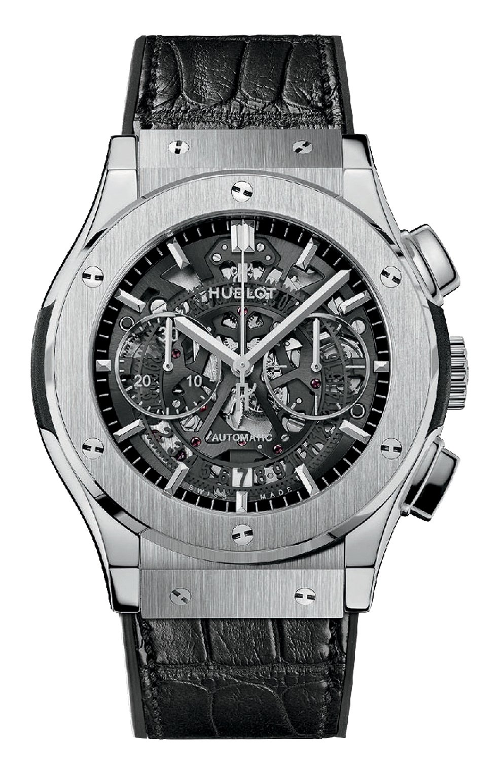 Мужские часы classic fusion aero chtonograph titanium HUBLOT темно-серого цвета, арт. 525.NX.0170.LR | Фото 1