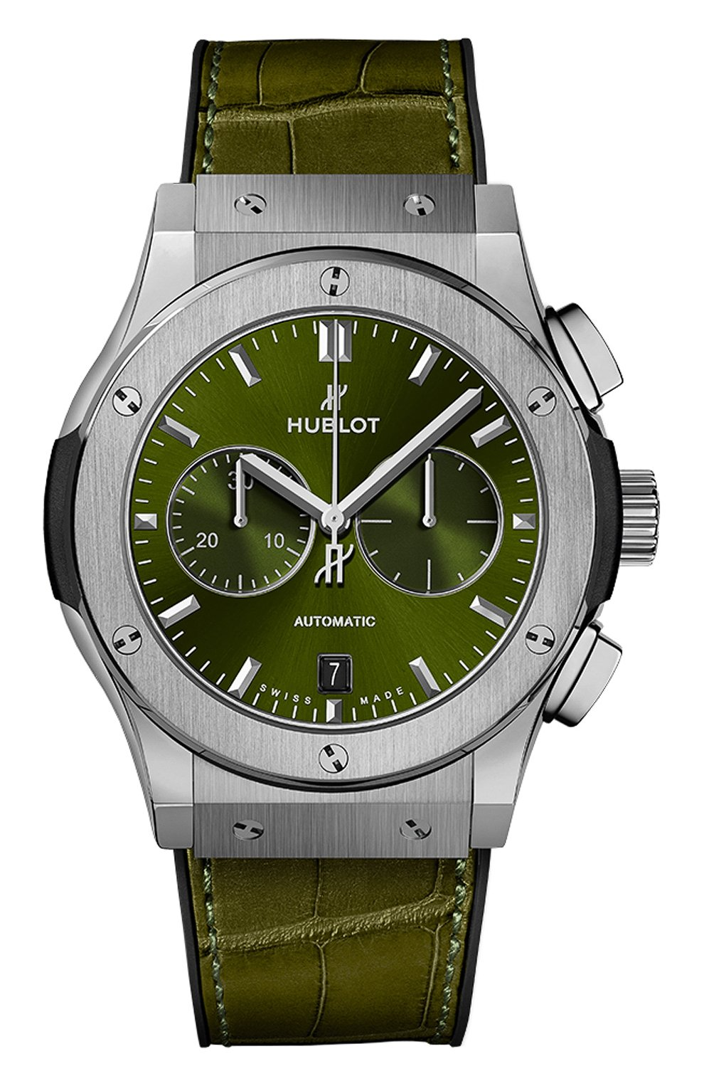 Мужские часы classic fusion chronograph titanium green HUBLOT зеленого цвета, арт. 541.NX.8970.LR   Фото 1