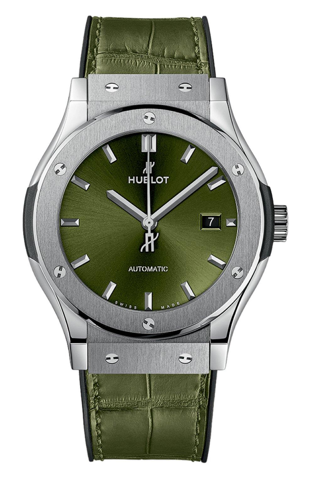 Мужские часы classic fusion green titanium HUBLOT зеленого цвета, арт. 542.NX.8970.LR | Фото 1