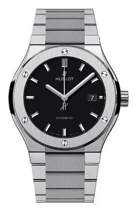 Мужские часы classic fusion titanium bracelet HUBLOT черного цвета, арт. 548.NX.1170.NX | Фото 1