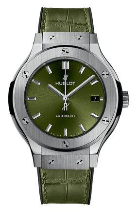 Женские часы classic fusion green titanium HUBLOT зеленого цвета, арт. 565.NX.8970.LR | Фото 1