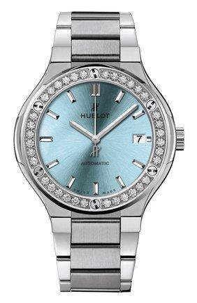 Женские часы classic fusion titanium light blue HUBLOT голубого цвета, арт. 568.NX.891L.NX.1204 | Фото 1