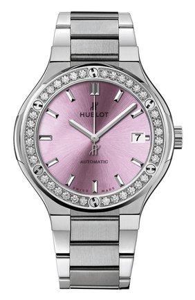 Женские часы classic fusion titanium pink bracelet HUBLOT розового цвета, арт. 568.NX.891P.NX.1204 | Фото 1