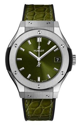 Женские часы classic fusion green titanium HUBLOT зеленого цвета, арт. 581.NX.8970.LR | Фото 1