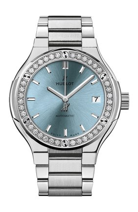 Женские часы classic fusion titanium light blue HUBLOT голубого цвета, арт. 585.NX.891L.NX.1204   Фото 1