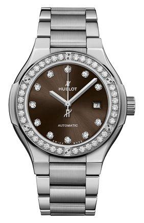 Женские часы classic fusion titanium brown diamonds bracelet HUBLOT коричневого цвета, арт. 585.NX.897M.NX.1204 | Фото 1