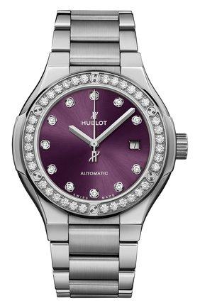 Женские часы classic fusion titanium brown diamonds bracelet HUBLOT фиолетового цвета, арт. 585.NX.897V.NX.1204 | Фото 1
