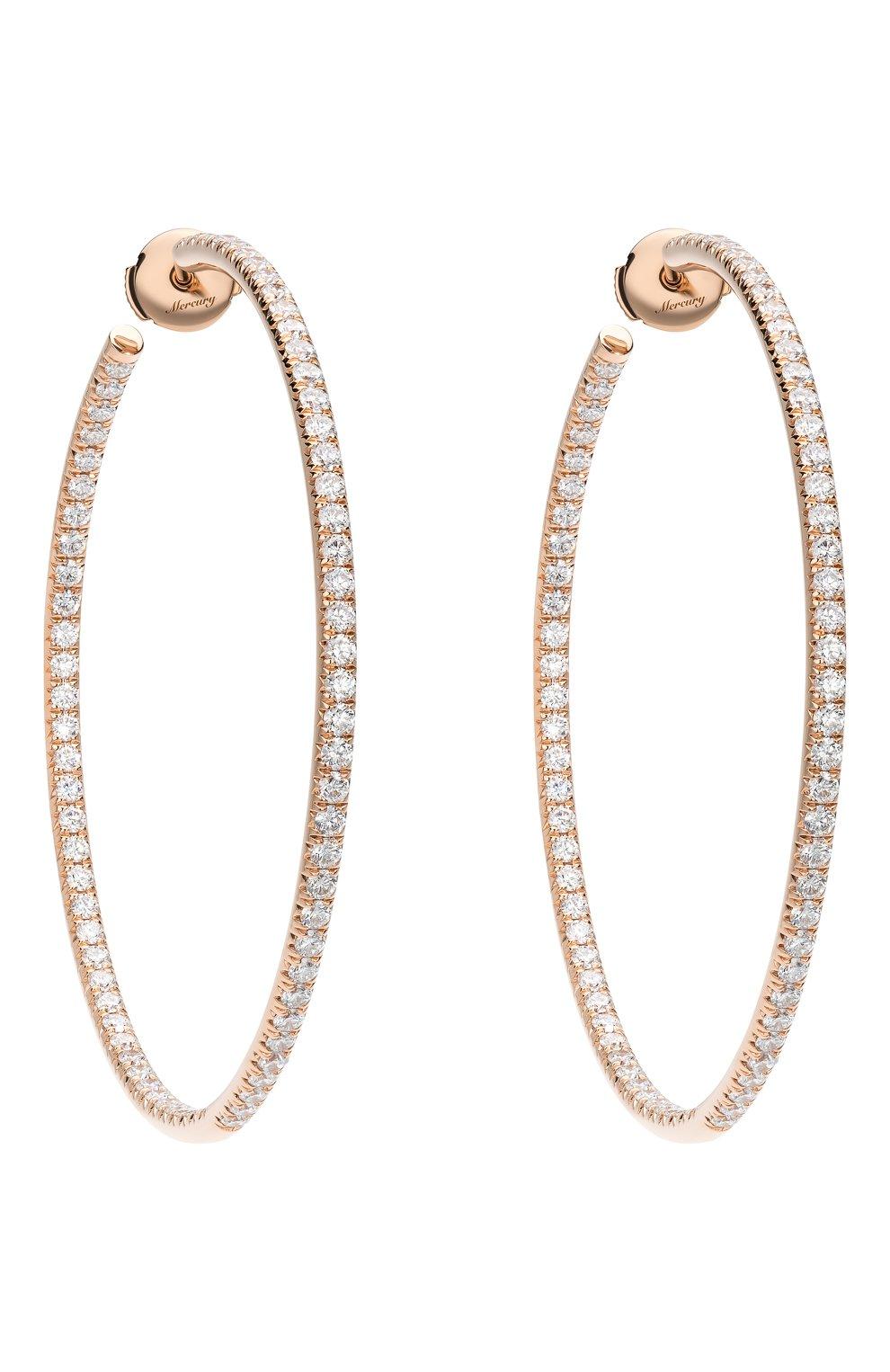 Женские серьги MERCURY бесцветного цвета, арт. ME25446/RG/HP2.45   Фото 1 (Драгоценные камни: Бриллианты; Материал сплава: Розовое золото)