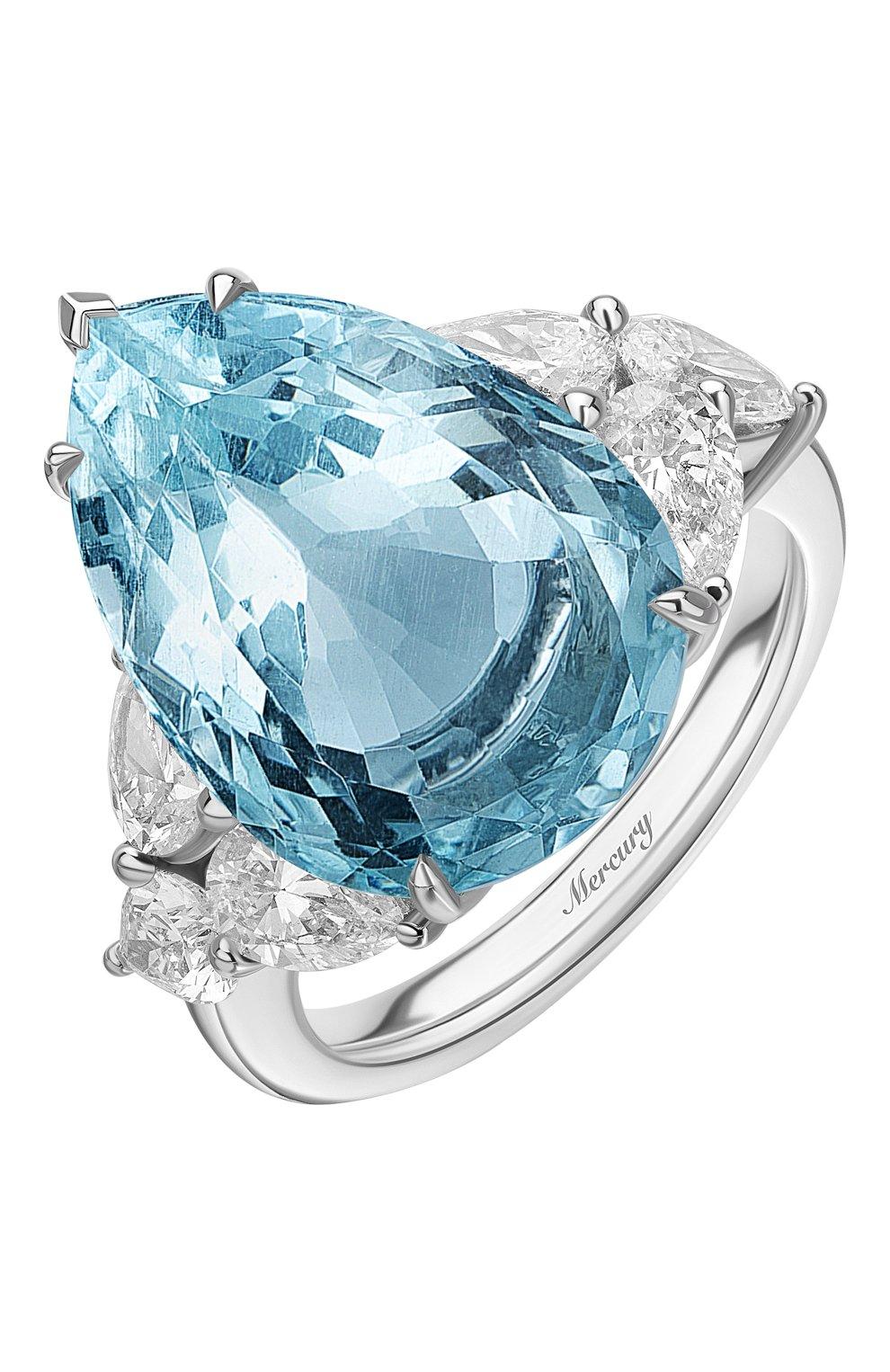 Женские кольцо MERCURY бесцветного цвета, арт. MR24611WAQ   Фото 1 (Материал сплава: Белое золото; Драгоценные камни: Бриллианты)